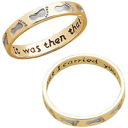 14kt Gold-Plated Two-Tone Footprints Ring Footprints Name Ring