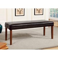 Leighton Contemporary Leatherette Dining Bench, Walnut