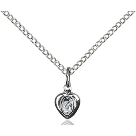 Sterling Silver Miraculous Heart Pendant 1 4 X 1 8 Inches With 18 Inch Sterling Silver Curb Chain