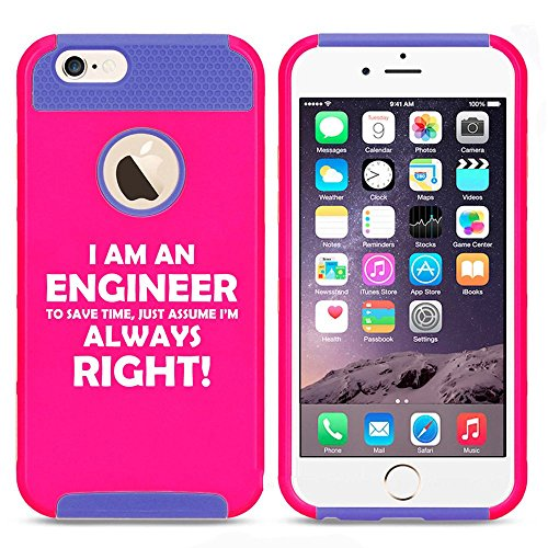 Apple iPhone 6 6s Shockproof Impact Hard Case Cover Engineer Always Right (Hot Pink-Blue),MIP