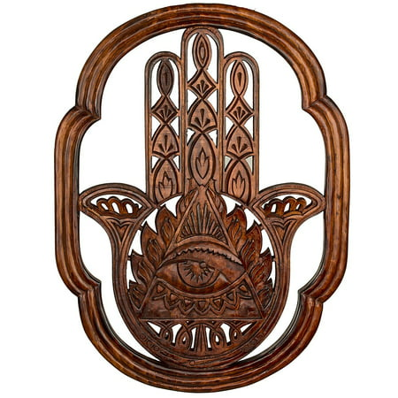 Hamsa Fatima Wood Rustic Hand Carved Large Wall Mounted Hanging Wooden Texture Art Sculpture Accents Textured Decorataive Boho Sign Home (Inspirational Wall Sculpture)