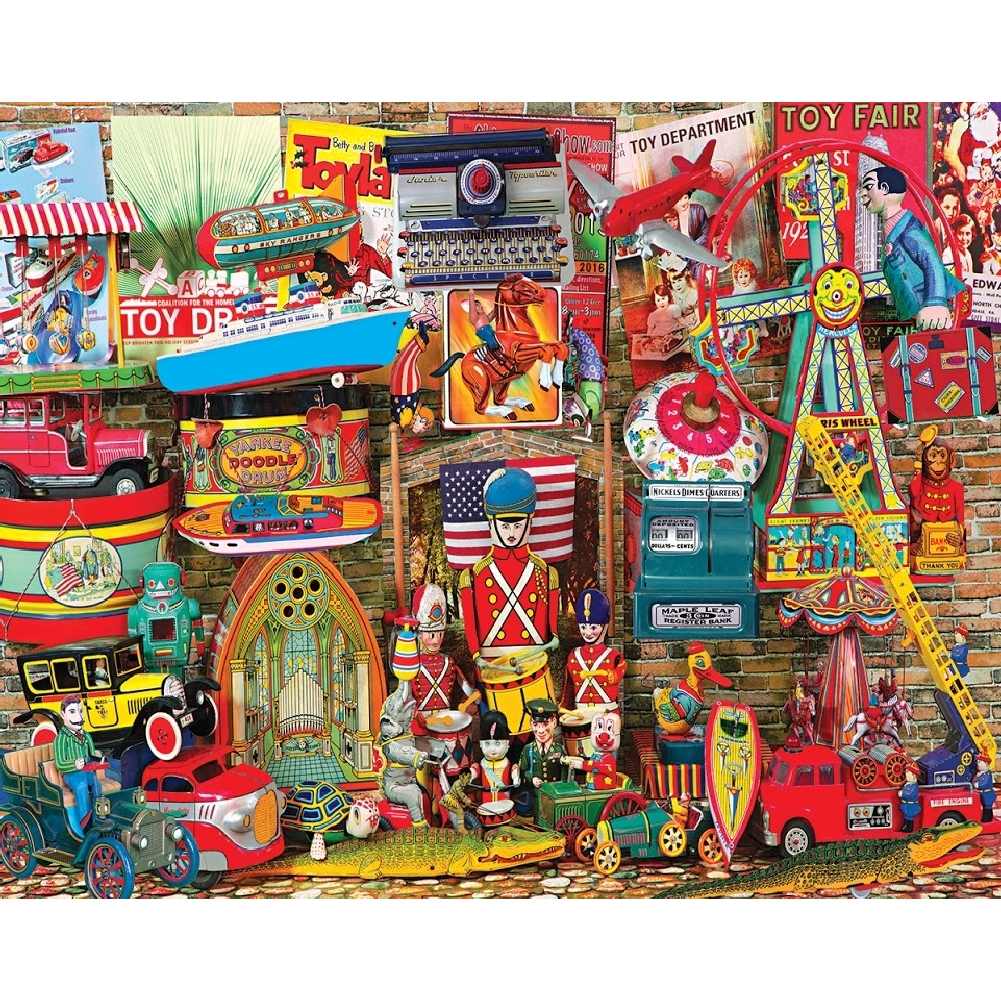 Antique Toys 1,000 Piece Puzzle,  More Folk Art by White Mountain Puzzles