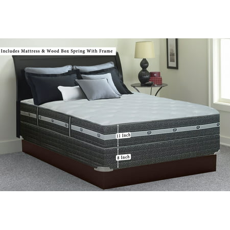 WAYTON 12 Inch Medium Plush Foam-Encased Pillowtop Memory Foam and Innerspring Mattress and Wood Traditional Box Spring Set With Frame