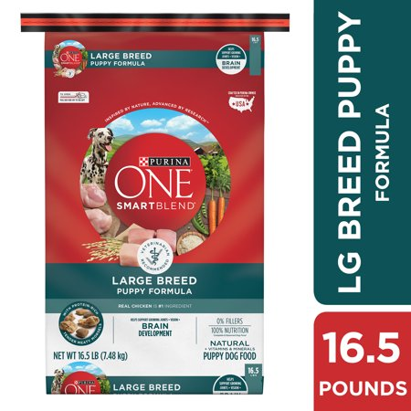 Purina ONE Natural Large Breed Dry Puppy Food, SmartBlend Large Breed Puppy Formula - 16.5 lb. (Puppy Food For Sensitive Stomachs Large Breed)