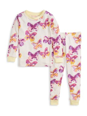 Burt's Bees Baby Organic Cotton Baby Girls and Toddler Girls Snug Fit Long Sleeve Pajamas, 2-Piece Set