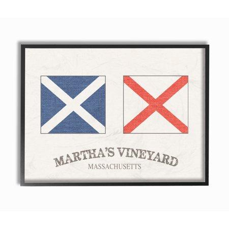 The Stupell Home Decor Collection Martha's Vineyard Nautical Flags Framed Giclee Texturized Art, 11 x 1.5 x