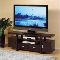 Elegant TV Stand With Metal Glide Drawers, Brown