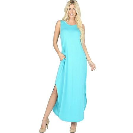 Women's Juniors Sleeveless Casual Long Maxi Dress with Side Slits and pockets