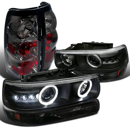 Spec-D Tuning Black 1999-2002 Chevy Chevrolet Silverado Halo Projector Headlight + Bumper Lights Lamp + Smoke Tail Lights (Left + Right) 99 00 01 (Chevrolet Silverado Truck Headlight Headlamp)