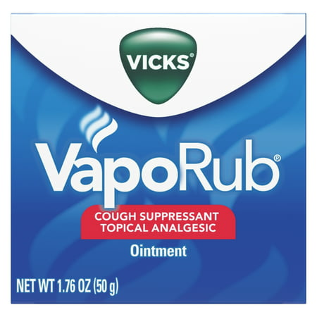 Vicks VapoRub Original Cough Suppressant, Topical Analgesic Ointment, 1.76 oz, Best used for relief from cold symptoms, aches, and (Best Ointment For Muscle Strain)