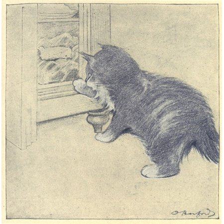 The Rubaiyat of a Persian Kitten 1906 Looking for food Stretched Canvas - Oliver Herford (18 x