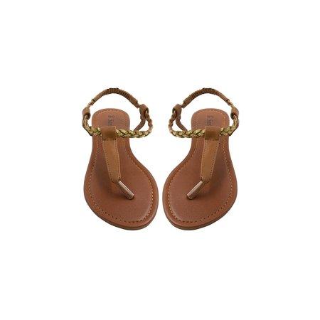 d40c6dfae16b08 Sara Z - Sara Z Womens T Strap Size Thong Sandal Glitter Braid Ankle Strap  Size 5 6 Cognac Gold - Walmart.com