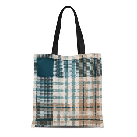 LADDKE Canvas Tote Bag Tan Pattern Tartan Plaid Check Christmas Color Xmas Abstract Reusable Shoulder Grocery Shopping Bags Handbag