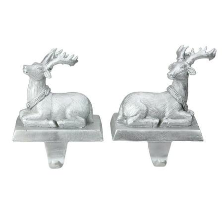 "Set of 2 Silver Reindeer Christmas Stocking Holders 6.5"" - Dog Stocking Holder"