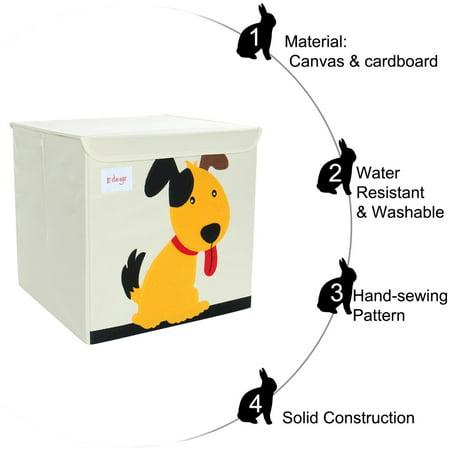 "Foldable Cartoon Storage Bins Toy Box Cube Baskets Yellow Puppy Pattern Lid 13""x13""x13.6"" - image 2 of 8"