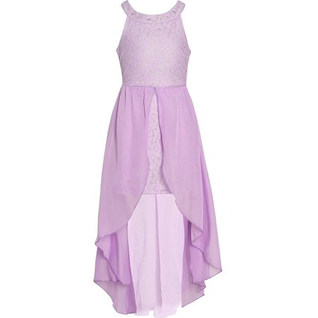 Girls Lilac Shimmery Embroidery Round Neckline Wrap-Style Easter Dress](Shimmery Dress)