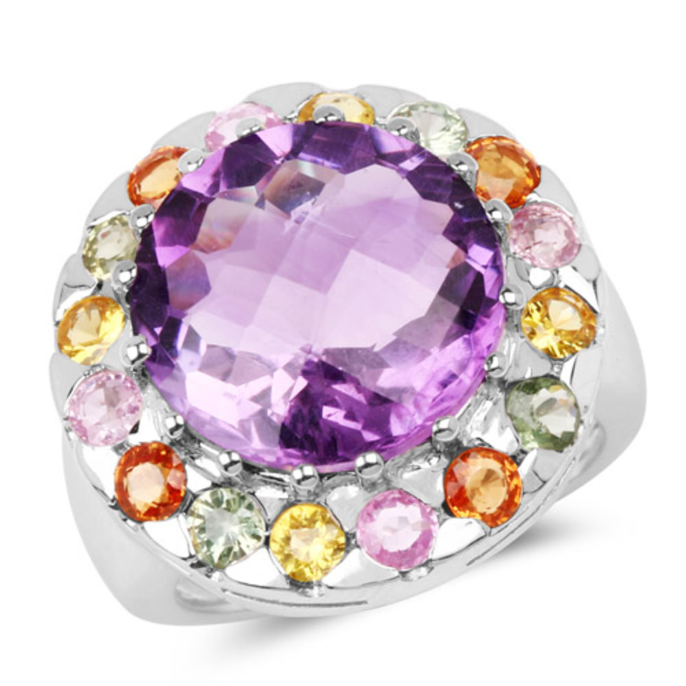 Genuine Round Amethyst, Green Sapphire and Pink Sapphire Ring in Sterling Silver Size 5.00 by Bonyak Jewelry