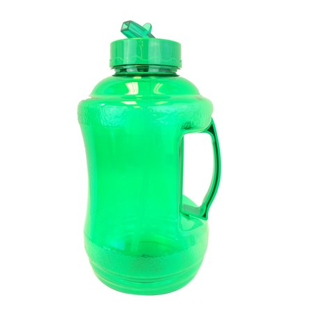Liter Water Bottle - 1.68 Liter BPA FREE Reusable Plastic Drinking Water Bottle Jug Container with Plastic Handle and Drinking Straw -  Green