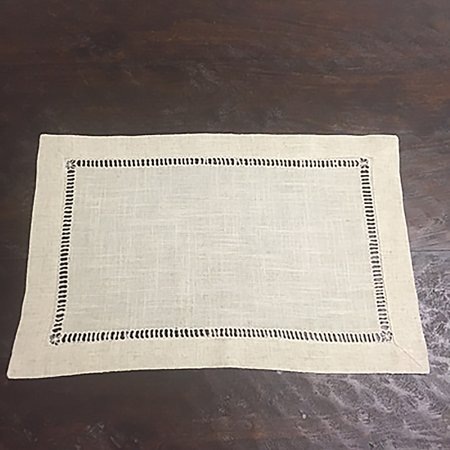 Natural Beige, Classic Tuscany Hemtitch Design Placemats, 14 Inch x 20 Inch (12 Piece Set)