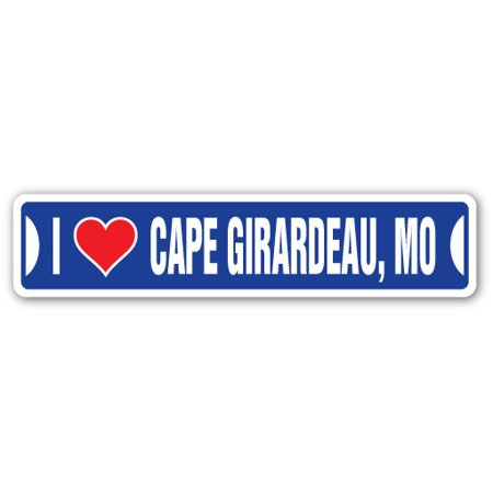 I Love Cape Girardeau, Missouri Street [3 Pack] of Vinyl Decal Stickers | Indoor/Outdoor | Funny decoration for Laptop, Car, Garage , Bedroom, Offices | - City Of Cape Girardeau