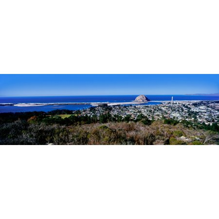 Elevated view of city at waterfront Morro Bay San Luis Obispo County California USA Canvas Art - Panoramic Images (6 x 18) - Halloween San Luis Obispo