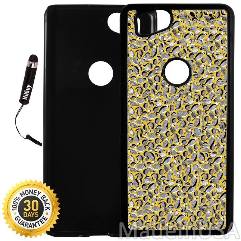 Custom Google Pixel 2 Case (Birds Pattern Black White Yellow) Plastic Black Cover Ultra Slim | Lightweight | Includes Stylus Pen by Innosub