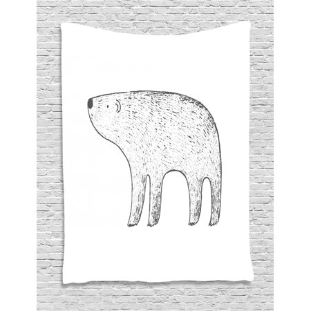 Polar Bear Tapestry, Sketchy Animal Ink Drawing Style Illustration on White Backdrop, Wall Hanging for Bedroom Living Room Dorm Decor, 40W X 60L Inches, Charcoal Grey and White, by Ambesonne