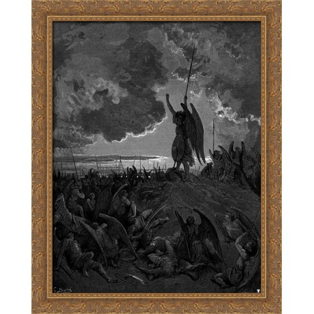They heard, and were abashed, and up they sprung 28x34 Large Gold Ornate Wood Framed Canvas Art by Gustave Dore