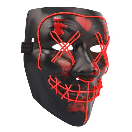Halloween Masks Party Supplies (HDE LED Red Strobe Light Up Costume Mask Halloween Masks for Cosplay Costumes, Party,)
