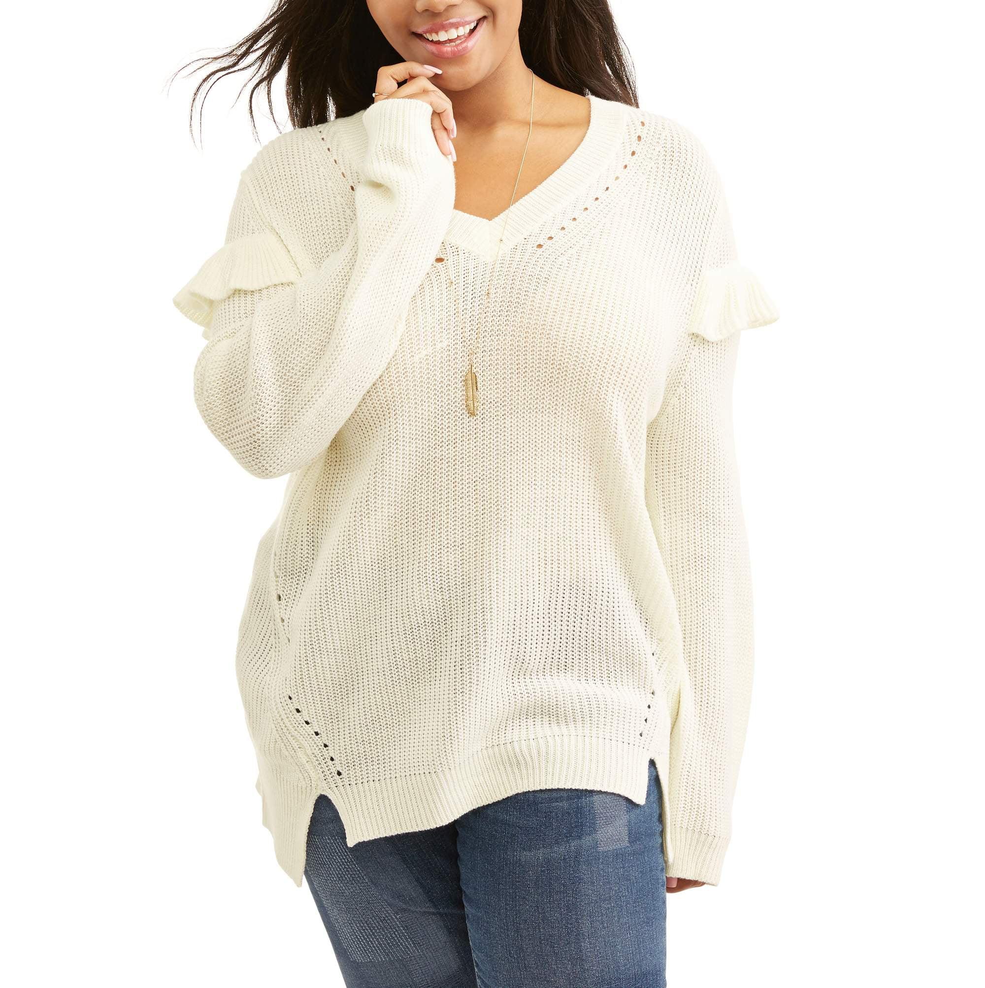 Juniors' Plus V- Neck Ruffle Pull Over Sweater