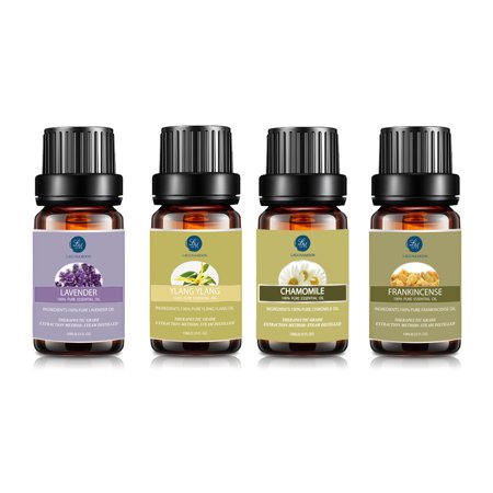 Essential Oil Set for Sleep, Premium Therapeutic Aromatherapy Oils Top 4 Kit Lavender Ylang Ylang Chamomile Frankincense