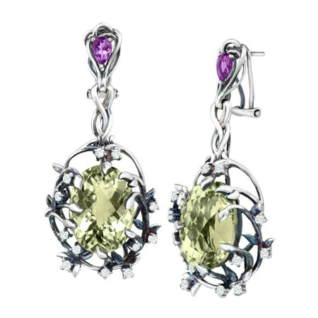 - Iris Blossom Drop Earrings with Natural Green Amethyst in Sterling Silver