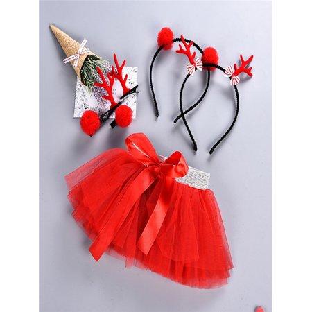 Baby Girls Kids Christmas Tutu Ballet Skirts Fancy Party Skirt + Hair Hoop Set