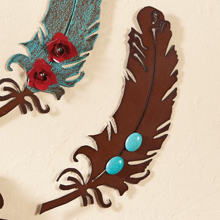 11 Inch Rust Metal Art Feather with Turquoise Stones