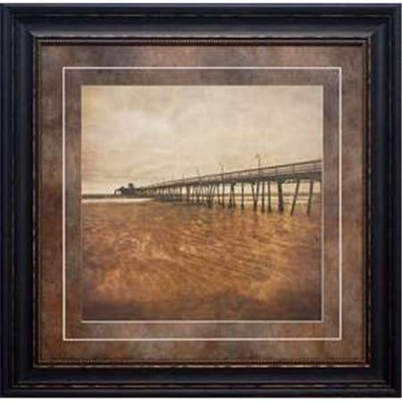 North American Art N1818 30 x 30 in. Vintage Pier II Framed Beach Landscape Art