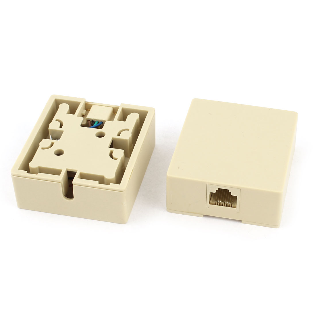 2 X Rj45 8p8c Female Ethernet Network Cable Connector Surface Mount Box Wiring