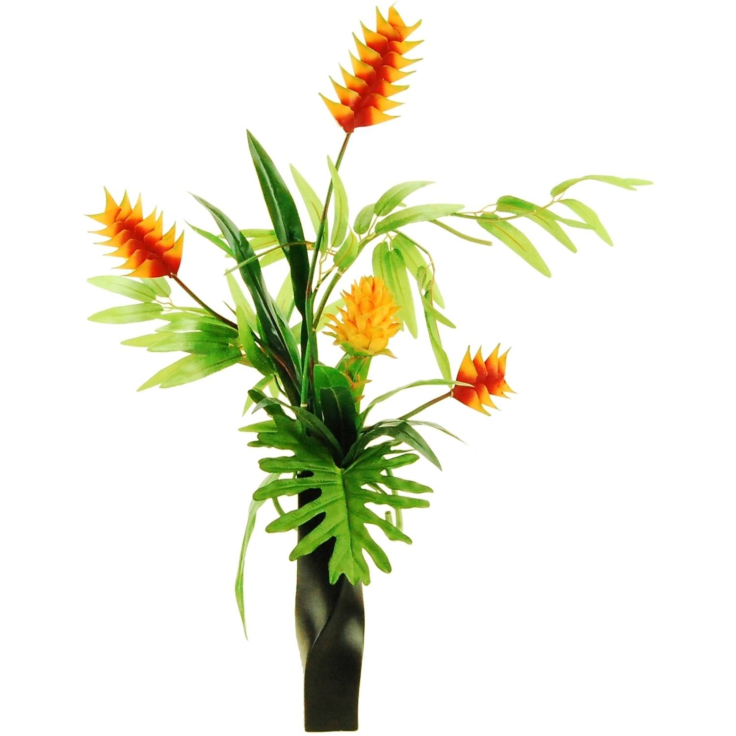 "32"" Artificial Tropical Garden with Ginger Torches and Bamboo in a Twisted Ceramic Vase"