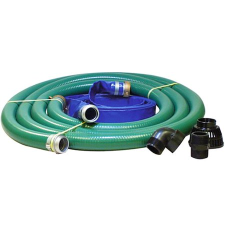 """JGB Enterprises Eagle PVC/Polypropylene/Aluminum Water/Trash Pump Hose Kit, 2"""" ID Suction & Discharge Hose with Poly Strainer, 90D Elbow and Nipple, 80 PSI Max, 25' Length, 2 ID -  0068896326154"""