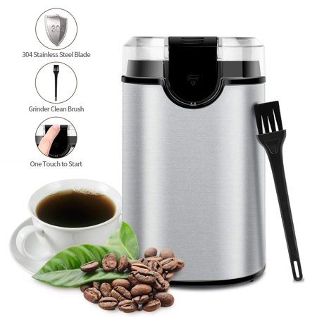 Coffee Grinder Electric Spice Grinder, Morpiot Stainless Steel Blades Grinder for Coffee Bean Seed Nut Spice Herb Pepper, Transparent Lid ,and Cleaning Brush , Silver