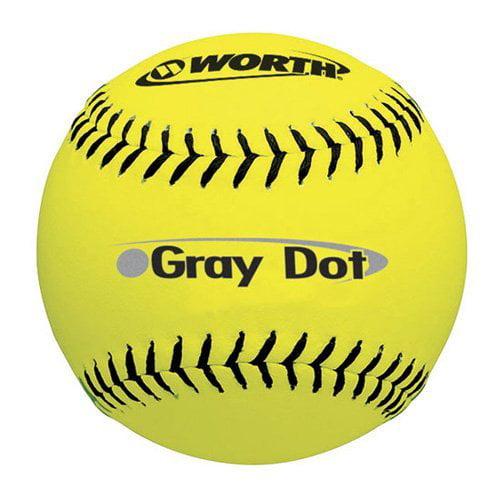 Worth YS40 ASA 12 in. Yellow Gray Dot Softballs - 1 Dozen