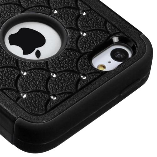 Insten Natural Black/Black TUFF Hybrid Soft Hard Case (with Diamonds) For APPLE iPhone 5C