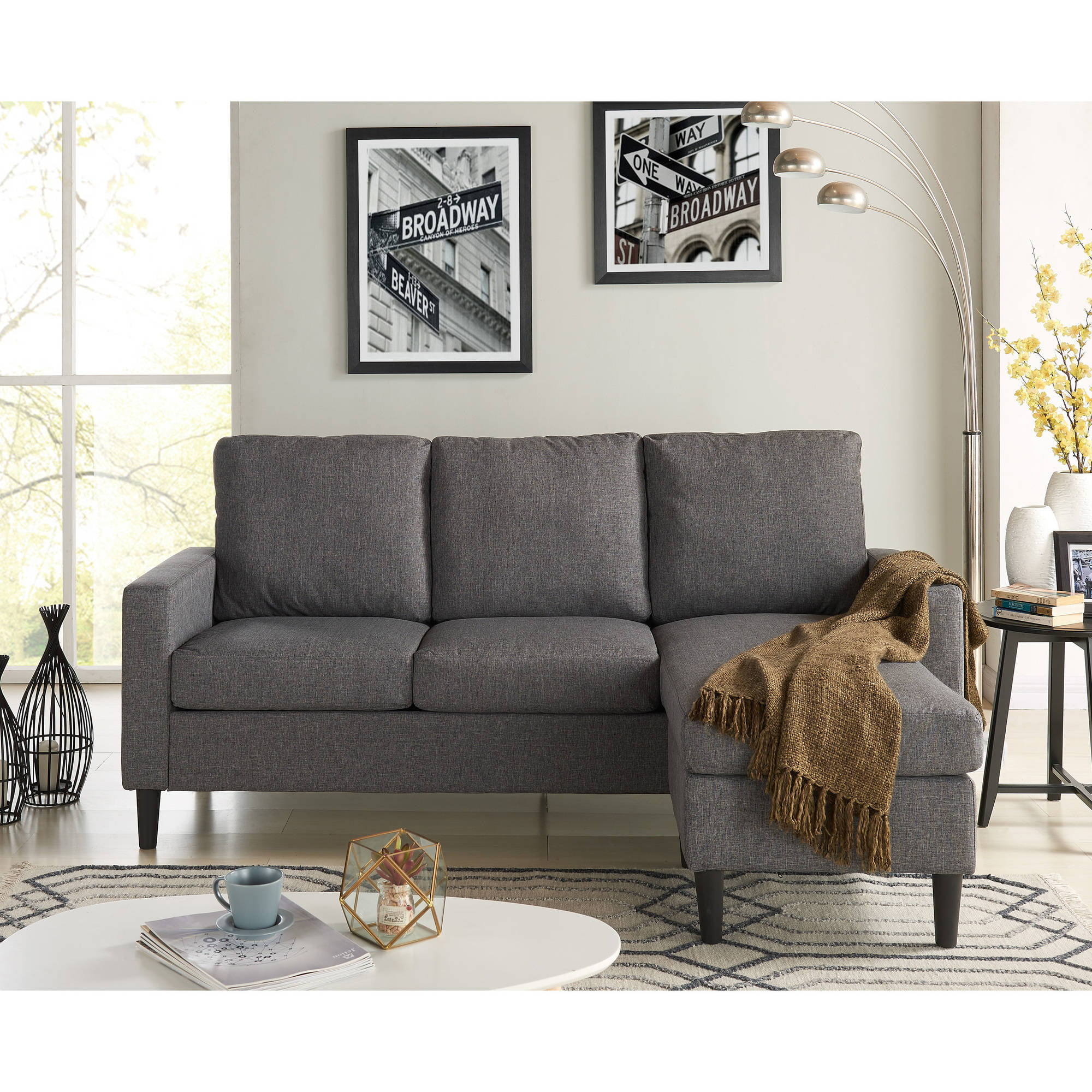 Mainstays Apartment Reversible Sectional, Multiple Colors ...