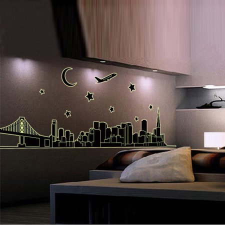 New York Skyline City Night Glow in the Dark Removable Wall Sticker Decal Art - Glow In The Dark Wall Decals