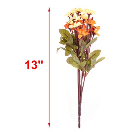 Dorm Table Ornament Fabric Artificial Flower Yellow Orange 13 Inch Height 2pcs - image 2 of 5