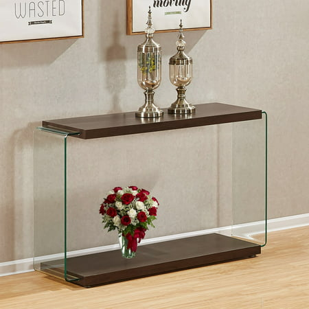 Walnut Color Console Table With Clear Side Glass Supports