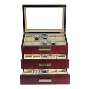 30 Piece Cherry Wood Watch Display Case and 3 Drawer Storage Organizer Box with Stainless Steel Accents