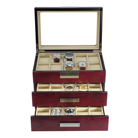 - 30 Piece Cherry Wood Watch Display Case and 3 Drawer Storage Organizer Box with Stainless Steel Accents
