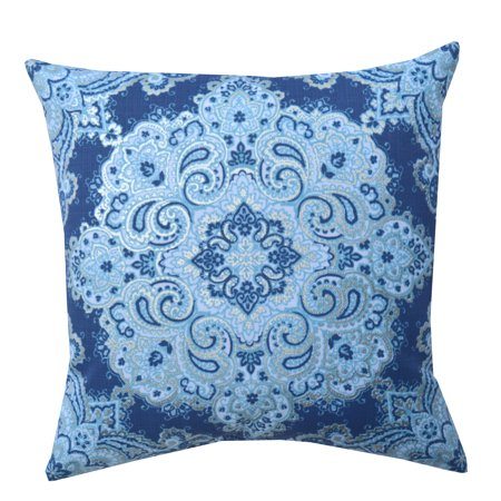 Mainstays Foil Medallion Decorative Throw Pillow, Blue, 18