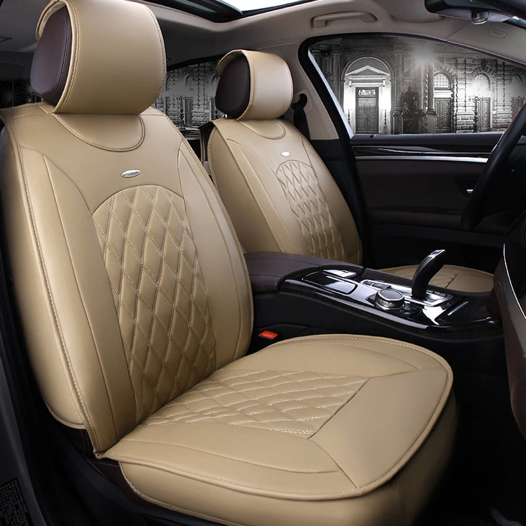 TINTON LIFE PU Leather All 5-seats Car Interior Chair Cushion Seat Cover Mat 3D Surround UDD