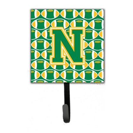 Letter N Football Green and Gold Leash or Key Holder CJ1069 NSH4